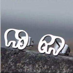 Stainless Steel Elephant Stud Earrings